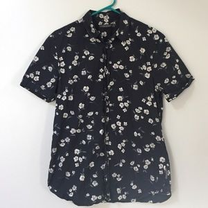 French connection floral navy button down shirt